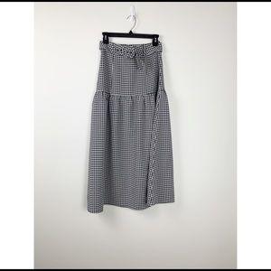 Capulet Brooke checkered tiered midi skirt black